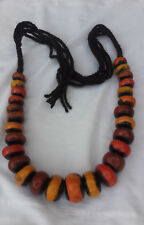 2 Berber Amber Necklaces 2 African Tribal Pendant Beads Resin Handmade Jewlery