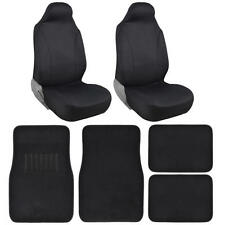 Front Car Seat Covers HighBack w/ 4pc Carpet Floor Mats for Auto SUV in Black