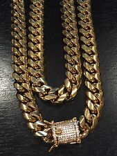 "12MM 30"" Chain & 8"" Bracelet Set Mens Miami Cuban Link Gold Stainless Steel 18K"