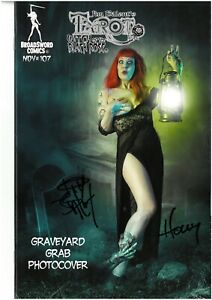 Tarot Witch of the Black Rose 107GRAVEYARD GRAB PHOTO COVER signed Jim Balent NM