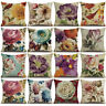 WO_ 18'' LINEN PEONY FLOWER THROW PILLOW CASE CUSHION COVER SOFA HOME DECOR STRI