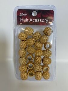 Hair Accessories: Wooden Beads For Hair GOLD (25pcs per pk)
