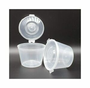 Plastic Food Grade Storage Container Pot Tub with a Hinged Lid - 100ml 4oz - 4WL