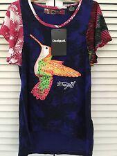 NWT DESIGUAL KIDS SIZE 11/12 Sequin Hummingbird Bird  Flutter Sleeve Top