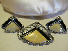 VTG Black Cream Enamel Marcasite Rhinestone Art Deco Style Brooch Earring Set