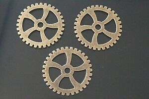 10 Large Metal Antique Bronze Steampunk Cogs and Gears Charm Pendant 32mm TSC122