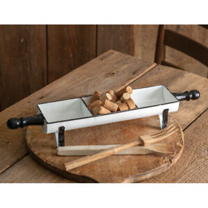 Farmhouse Rolling Pin Tray in distressed white tin