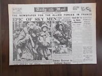 DAILY MAIL WWII NEWSPAPER SEPTEMBER 28th 1944 - EPIC BATTLE FOR ARNHEM