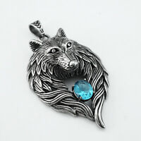 "Men's Vintage Silver Steel Wolf Head Charm Pendant Necklace 20"" Chain Punk"