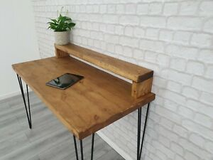 solid wood chunky hairpin leg desk with monitor stand
