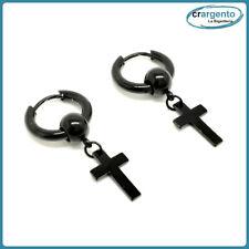 orecchini croce da uomo cerchio pendente in acciaio donna con a piccoli per inox