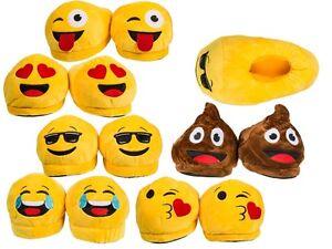 Erwachsene Voll Plüsch Neuheit Emoji Kacke Herz Zunge Cool Slipper UK 4½ -8½