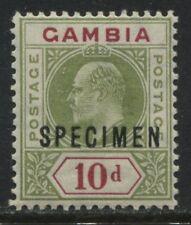 Gambia  KEVII 1909 10d overprinted SPECIMEN