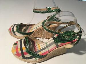 Auth. BURBERRY Crocodile trim Check Pattern Canvas Espadrilles Wedge Shoes 41