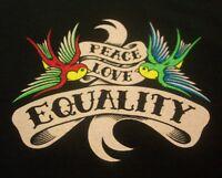 PEACE LOVE EQUALITY Birds T-Shirt MENS Black XL NEW
