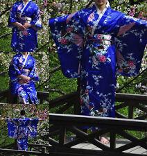 Retro Oriental Japanese Yukata Kimono Obi Cosplay Robe  Dress Cosplay Gown