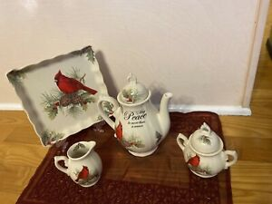 Cracker Barrel SEASON OF PEACE 6Pc Cardinal Teaset Teapot Creamer Sugar Tray