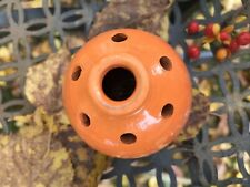 Redware Pottery Orange Frog Stem Vase No.1239 by Johanson