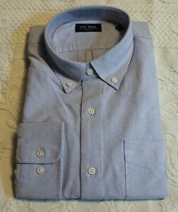 The Tie Bar Men's The Trim Fit Dress Shirt MP7 Oxford Light Blue Size 16 34/35
