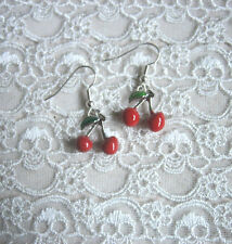 RED CHERRY EARRINGS CHERRIES ENAMEL ROCKABILLY / KITSCH / SILVER PLATE / RETRO