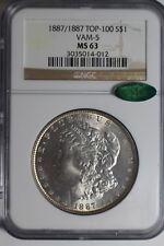 1887/1887 VAM 5 Morgan Silver Dollar MS63 CAC NGC