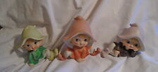 * 3 Vintage Cute Fairy Porcelain Figurines Elves Sprites Pixies *