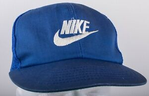 Vintage Late 1980s NIKE Embroidered Spell Out & Swoosh Blue Snapback Hat (Flaws)