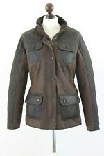 BARBOUR Ladies UTILITY Waxed Cotton+ Leather Jacket Brown size UK 12 US 8 EU 38