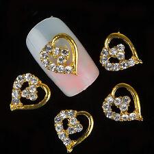 10 x 3D Gold Alloy Love Hearts Crystal Rhinestone Nail Art Tips Decoration Charm