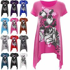 Womens Flower Hanky Hem Rose Plus Size Dress Short Sleeve Tunic T Shirt Top