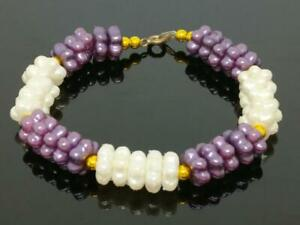 CJ888 Beautiful Vintage Asia White & Purple Flower Beads Bracelet F/S (J659)
