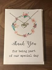 Thank You Card Maid Of Honour Chief Bridesmaid Jewellery Flower Girl Gift Card