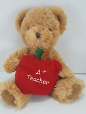 "Russ Berrie Teddy Bear holding Apple A+ Teacher Plush 8"" Card Note Holder"