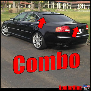 Fits: Audi A8 A8L D3 2002-2009 Roof Wing & Trunk Lip Spoiler COMBO 284R/244L