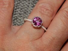 MYSTIC PINK COATED TOPAZ ROUND SOLITAIRE RING-SIZE T-1.500CTS-STERLING SILVER