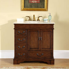 36-inch Creamy Marble Stone Top Single Bathroom Sink Vanity Bath Cabinet 0212CM