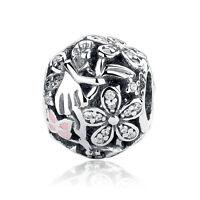 Dazzling Daisy Fairy Hollow 925 Sterling Silver Charm Bead fit European bracelet