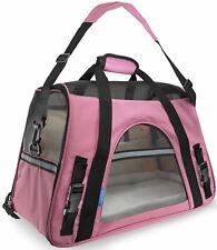 Travel Approved Pet Carrier Soft Sided Large Cat Dog Comfort Rose Wine Pink Bag