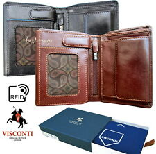 Mens Leather Wallet Compact Trifold RFID High Quality New in Box Visconti ALPS87
