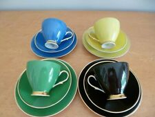 Karolina Polish Harlequin China Trio's - Tea cup, saucer, side plate c. 1950's