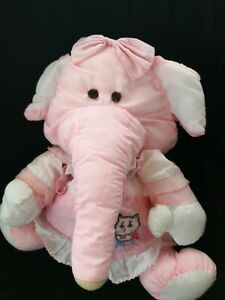 Vintage Pink Elephant Puffalump Fisher Price retro 1980s soft toy