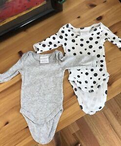 2 X Long sleeve Baby Bodysuits Marquise  - Size 0000 / Newborn
