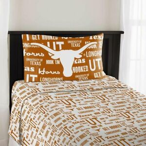 TEXAS LONGHORNS Microfiber 3 Piece Twin Sheet Set 100% Polyester NORTHWEST