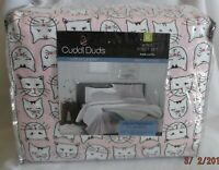CUDDL DUDS FLANNEL PINK CATS DESIGN 4 PIECE KING SIZE SHEET SET NEW IN PACKAGE