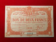 Billet 2 Fr VILLE DU HAVRE Chambre de Commerce SF 1916 R1 !!