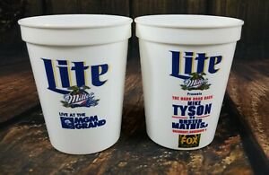 Mike Tyson Vintage Lot 2 Event Cups Buster Mathis Jr MGM Grand Miller Lite USA