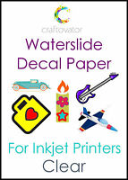 CLEAR Water Slide Decal Paper INKJET A4 Waterslide Transfer Sheets - ALL PACKS