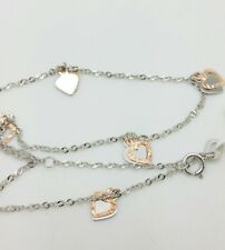 "14k Solid White Gold Heart Charm Anklet Bracelet Adjustable Chain 9"" 10"""