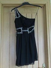 Miso one shoulder cut out waist black prom party dress beaded sequin size 8 vgc