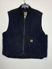 CARHARTT Vest Mens Sz 2XL XXL Tall Quilt Lined Sleeveless Jacket Work Navy Duck